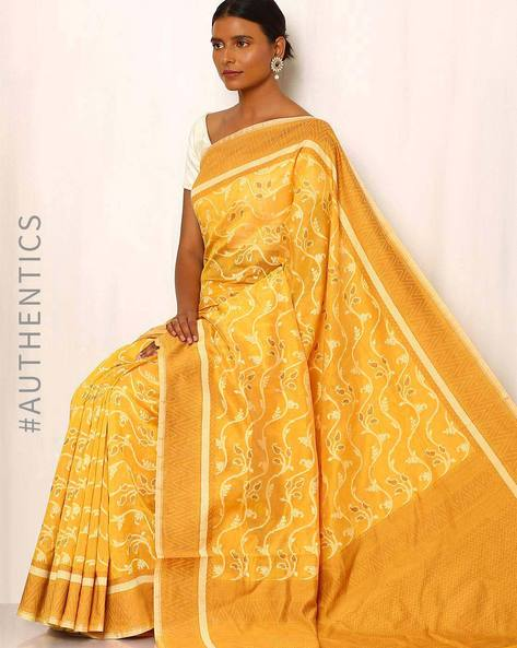 Banarasi Pure Silk Katan Cotton Cutwork Saree By Indie Picks ( Mustard )
