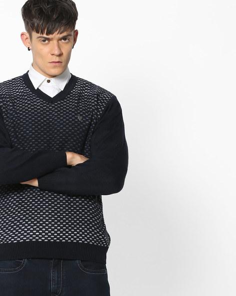 Patterned-Knit V-neck Pullover By DUKE ( Navy )