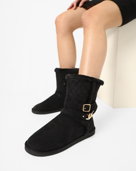 Quilted Ugg Boots With Buckle Accent By Carlton London ( Black )