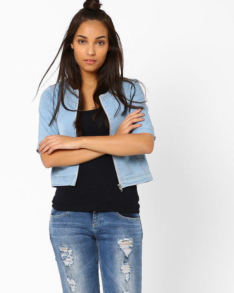 Cropped Denim Jacket By AJIO ( Lightblue )