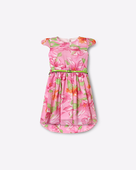 Floral Print Fit & Flare Dress With Belt By 612 League ( Pink )