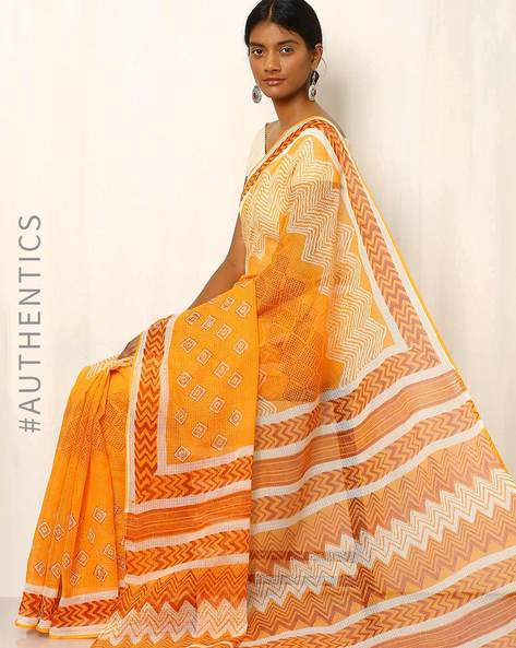 Bagru Print Kota Silk Cotton Saree By Indie Picks ( Yellow ) - 460016725001