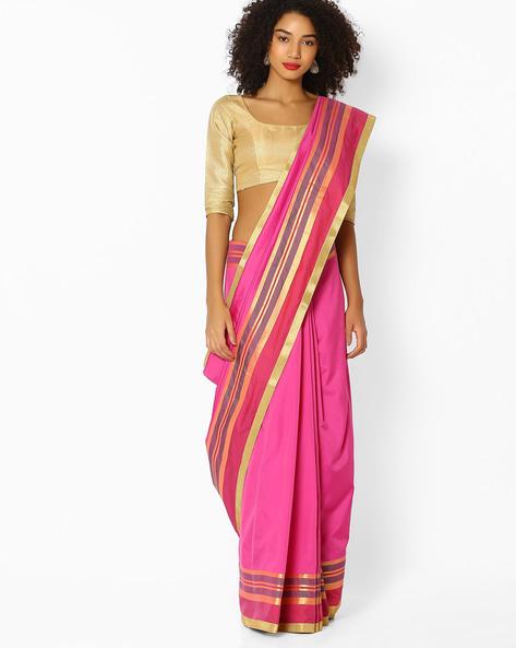 Saree With Striped Border By Vastrangi ( Pink )