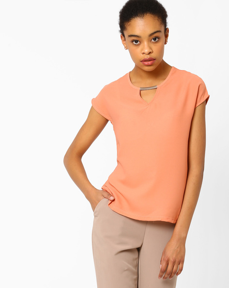Boxy Top With Extended Cap Sleeves By FIG ( Ltpeach )