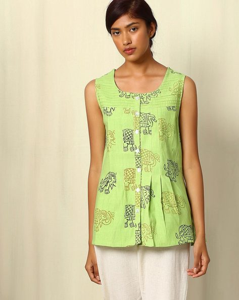 Block Print Cotton Top By Ek Taara ( Yellow )