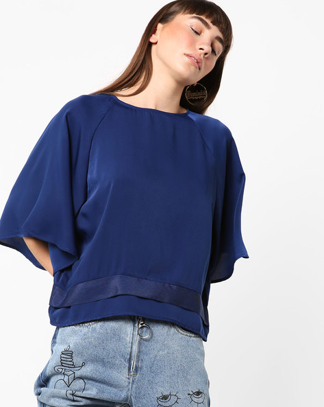 Top With Flared Raglan Sleeves By AJIO ( Blue )
