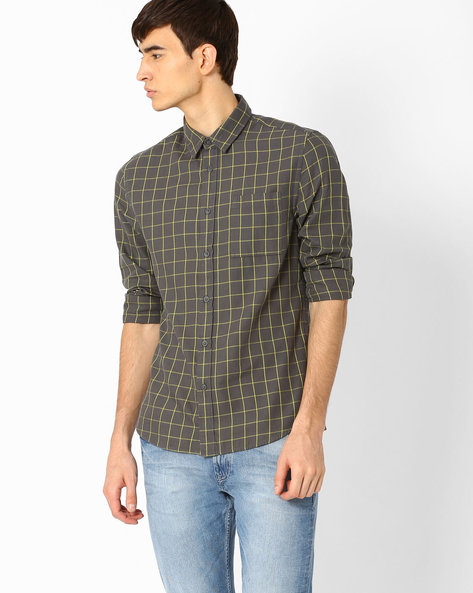 Window Check Shirt With Patch Pocket By Jack & Jones ( Gray )