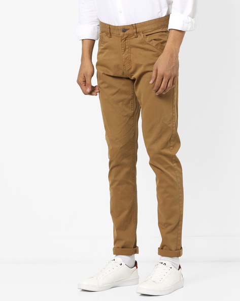 Slim Fit Flat-Front Trousers By AJIO ( Khaki )