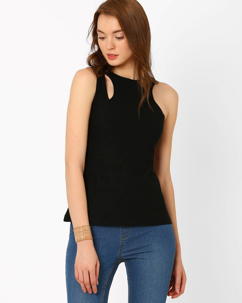 Sleeveless Top With Cut-Out By RIDRESS ( Black )