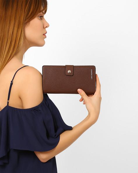 Bi-Fold Wallet With Tab Closure By Lino Perros ( Brown )