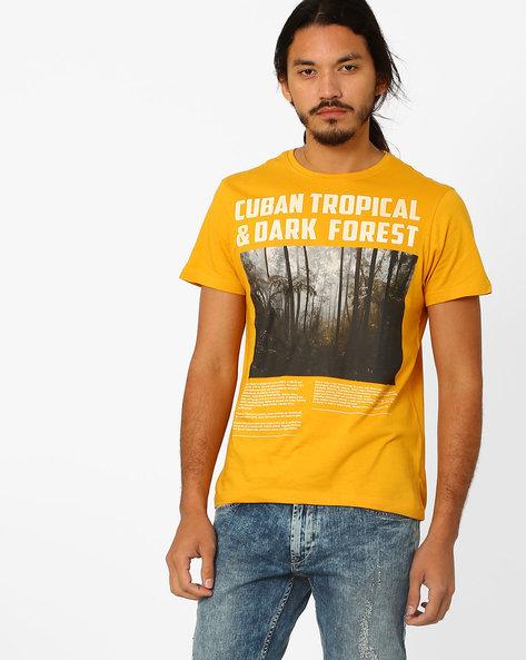 Cuban Tropical Print T-shirt By AJIO ( Yellow )