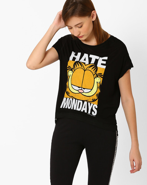 Garfield Print High-Low T-shirt By Free Authority ( Black )