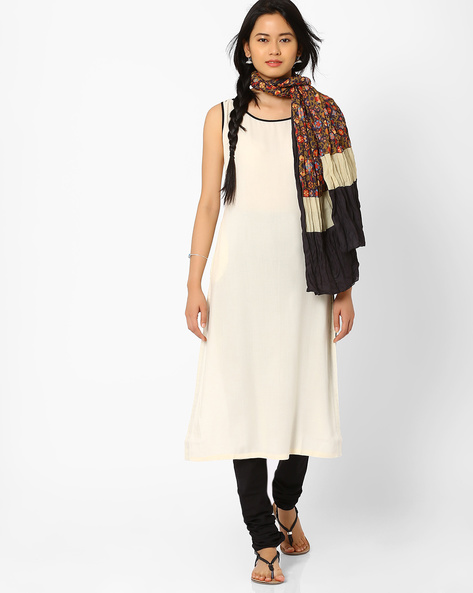 Sleeveless Churidar Kurta With Dupatta By AJIO ( Offwhite )