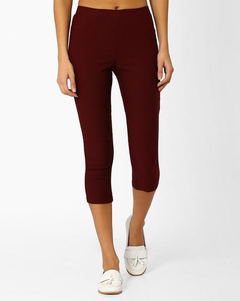 Skinny Fit Capris By Honey By Pantaloons ( Purple )