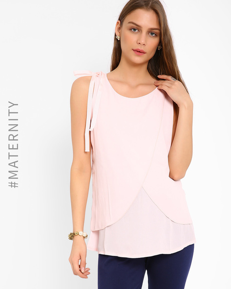 Envelope-Front Hybrid Nursing Top By AJIO ( Pink )