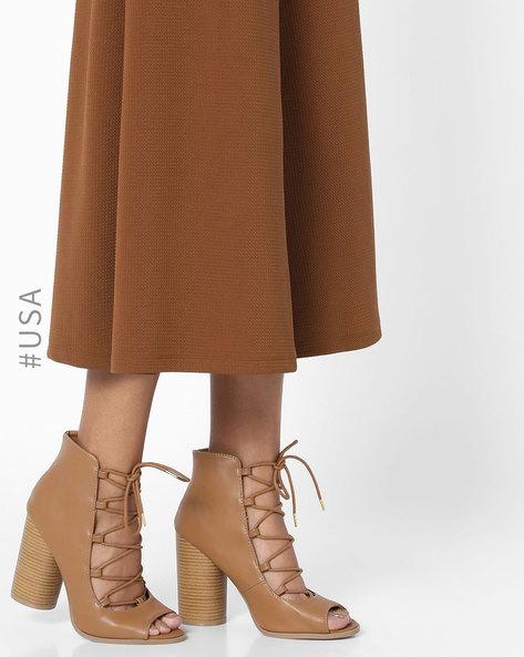 Peep-Toe Chunky-Heeled Sandals By QUPID ( Tan )