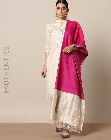 Handloom Pure Silk Tussar Muga Dupatta By Indie Picks ( Magenta )