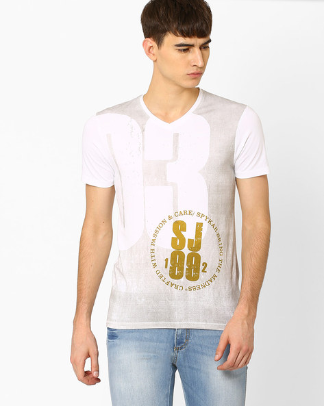 Slim Fit V-neck Printed T-shirt By SPYKAR ( White )
