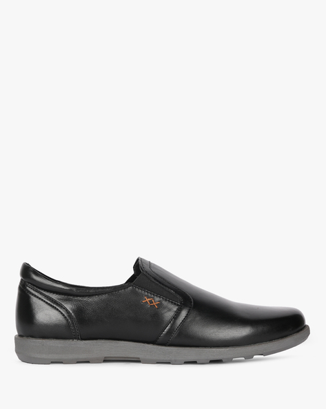 Genuine Leather Slip-On Formal Shoes By Buckle Up ( Black )