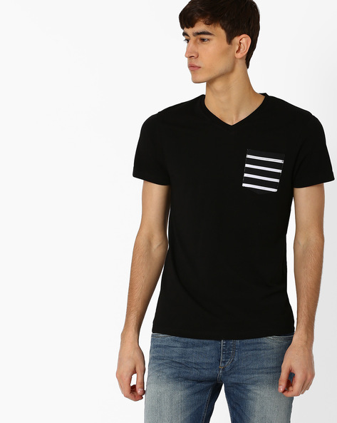V-Neck Slim Fit T-shirt By Jack & Jones ( Black )