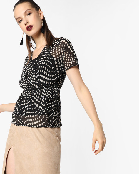 Sheer Top With Polka-Dot Print By Oxolloxo ( Black )