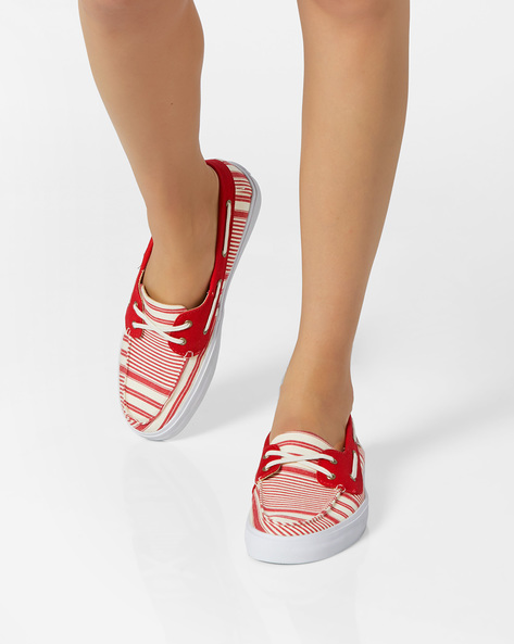 Striped Canvas Shoes By Vans ( Red )