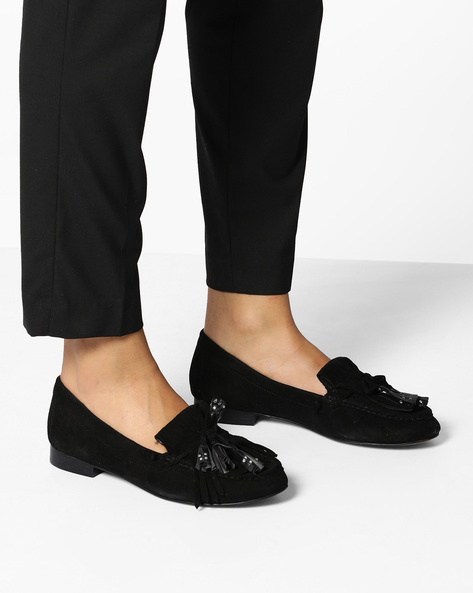 Genuine Leather Moccasins With Fringes By Carlton London ( Black )