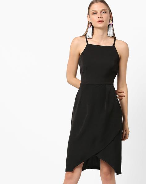 Strappy High-Low Sheath Dress By AJIO ( Black )