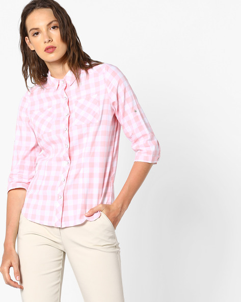 Checked Shirt With Patch Pockets By KRAUS ( Pink )