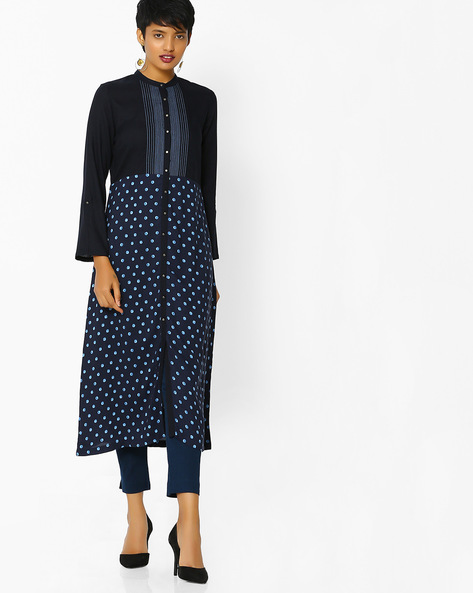 Polka-Dot Print Straight Kurta By W ( Blue )
