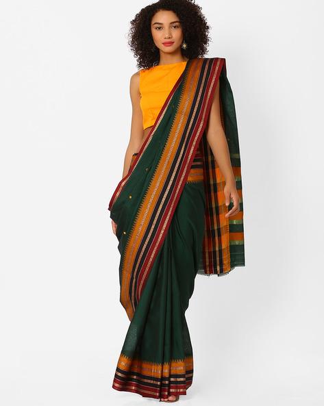 Traditional Saree With Contrast Border By Ishaya ( Green )
