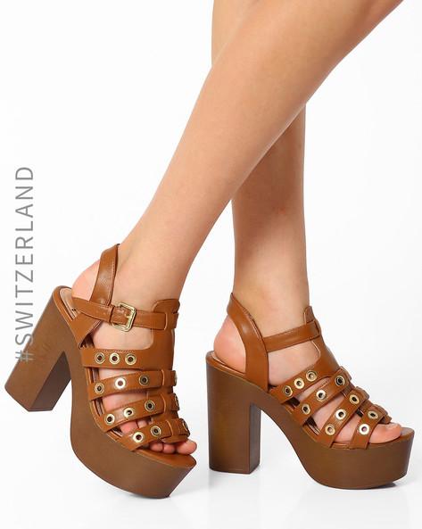 Strappy Platform Heels By TALLY WEiJL ( Brown )