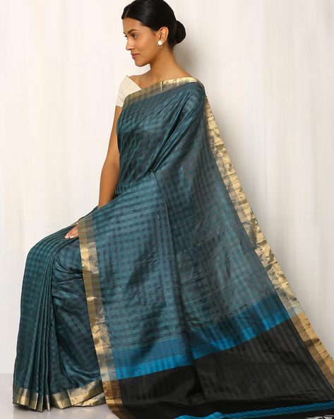 Handwoven Pure Dupion Silk Saree By Rudrakaashe-MSU ( Multi )