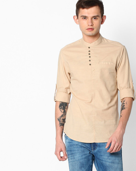 Slim Fit Shirt With Welt Pocket By The Indian Garage Co ( Beige )