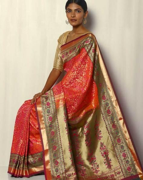 Patola-Style Brocade South Silk Saree By Pretty Woman ( Peach )