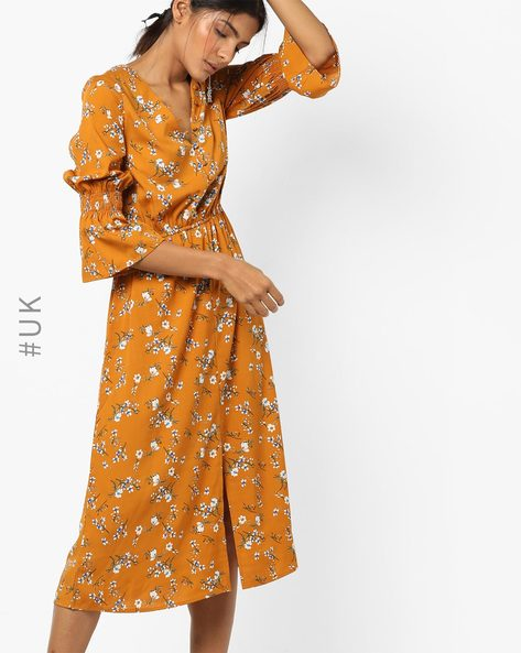 Floral Print Midi Dress With Flounce Sleeves By INFLUENCE ( Mustard )