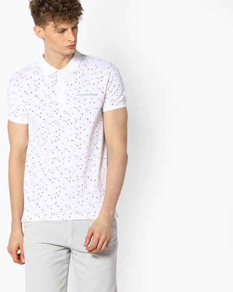 All-Over Print Polo T-shirt By UNITED COLORS OF BENETTON ( White )