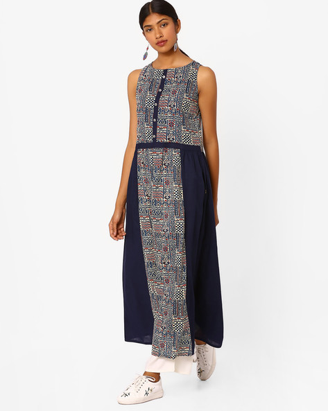Printed Flared Sleeveless Maxi Dress By Jaipur Kurti ( Navyblue )
