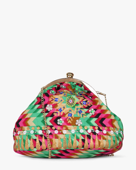 Printed Sling Clutch With Hand Embroidery By Neonia ( Multi )