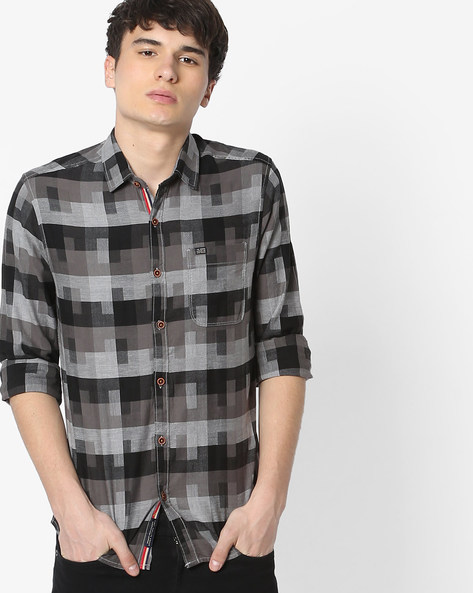 Slim Fit Checked Shirt With Patch Pocket By The Indian Garage Co ( Black ) - 460191604006