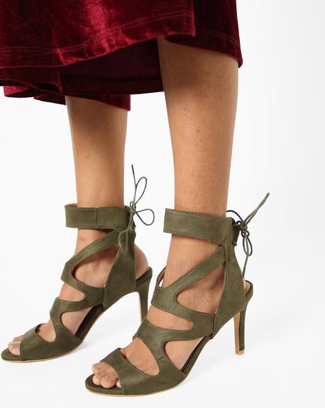 Strappy Stilettos With Tie-Ups By AJIO ( Olive )