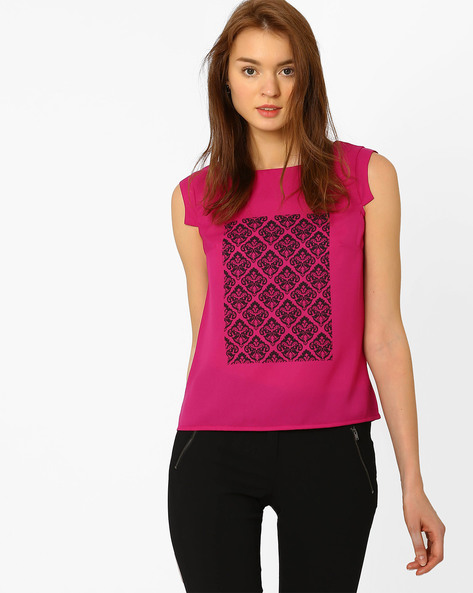 Printed Top With Cap Sleeves By AJIO ( Purple )