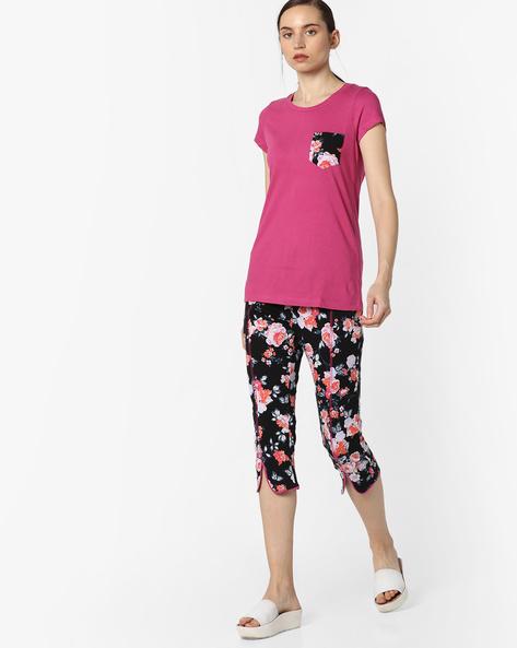Printed T-shirt & Pyjama Set By Mystere Paris ( Pink )