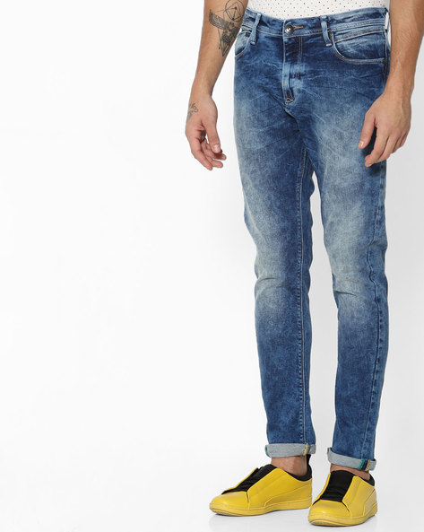 Slim Fit Jeans With Whiskers By UNITED COLORS OF BENETTON ( Dkblue )