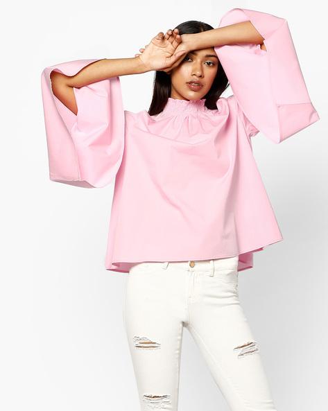 High-Neck Cold-Shoulder Top With Bell Sleeves By AJIO ( Pink )