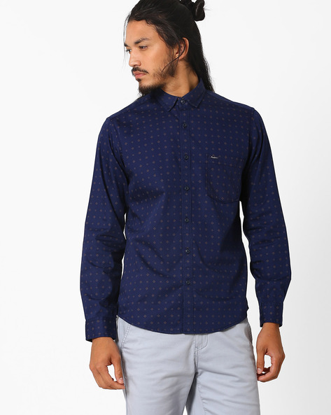 Printed Regular Fit Shirt By Pepe Jeans ( Navy )