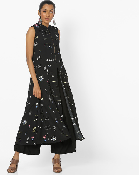 Printed Sleeveless Kurta With Front-Slit Hem By COLOUR ME ( Black )
