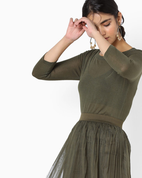 Knit Top With Dipped Hemline By Project Eve WW Casual ( Green )