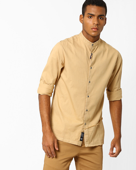 Smart Fit Shirt With Mandarin Collar By Blue Saint ( Beige )