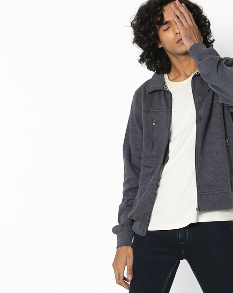 Sweatshirt With Zip Front By Fort Collins ( Grey )